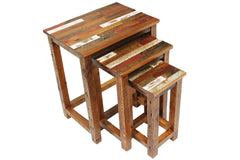 Tartan Nesting Tables Constructed Using Reclaimed Barn Wood