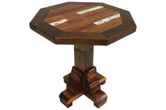 Tartan Octagon Pedestal End Table