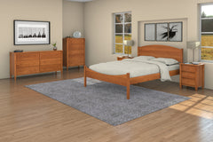 Shaker Bedroom Set in Cherry with Shaker Moondance Bed, 5-Drawer Chest, Two 3-Drawer Nightstands, and 6-Drawer Dresser