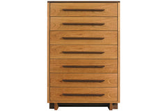 Skyline 7-Drawer Chest in Cherry with Walnut Pulls