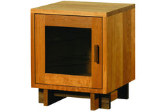Skyline Bedside Table with Glass Door in Cherry with Walnut Pull