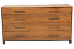 8-Drawer Soho Dresser in Ribbon Mahogany with Bronze Bar Pulls