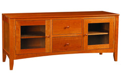 Newport 62-Inch Media Console with 2 Center Drawers in Cherry with Natural Finish and Wood Knob Pulls
