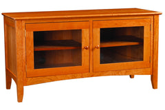 Newport 48-inch Media Console with Two Glass Doors in Cherry with Natural Finish and Wood Knob Pulls