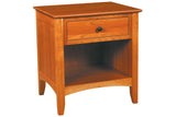 Newport 1-Drawer Nightstand in Cherry with Natural Finish and Black Matte Knob Drawer Pull