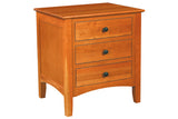 Newport 3-Drawer Nightstand in Cherry with Natural Finish and Black Matte Knob Drawer Pulls