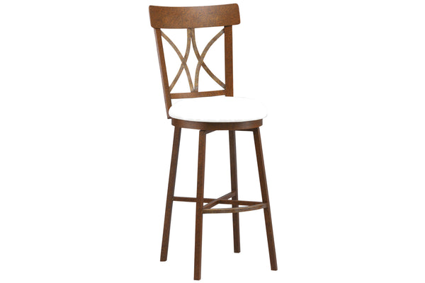 Miacomet Bar Stool in Textured Charcoal Brown Finish with Aspen Pure White Leather