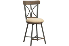 Miacomet Counter Stool in Textured Copper Moss Finish with Milan Cream Fabric