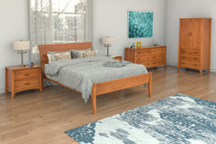 Willow Bedroom Set in Cherry with Monarch Bed, Armoire, Two 2-Drawer Nightstands, and 6-Drawer Dresser