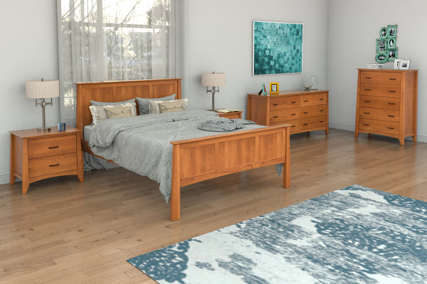 Willow Bedroom Set in Cherry with Willow Panel Bed, 5-Drawer Chest, Two 2-Drawer Nightstands, and 6-Drawer Dresser