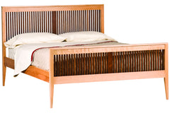 Luna Heritage Bed in Cherry with a Natural Finish and Walnut Spindles