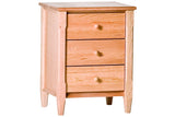 Shaker 3-Drawer Nightstand in Cherry with Natural Finish