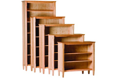 Shaker Bookcases in Cherry with Natural Finish