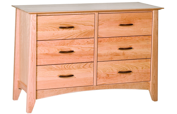 Willow 6-Drawer Narrow Dresser in Cherry with Natural Finish