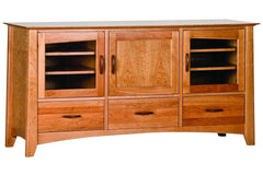 Willow 65-Inch Media Cabinet with Three Cabinets and Center Wood Panel in Cherry with Natural Finish