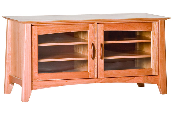 Willow 50-Inch Media Cabinet with Two Cabinets in Cherry with Natural Finish