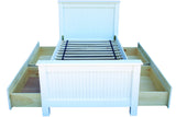 Twin bead board bed in Angel White; storage drawers available through special order - call to inquire