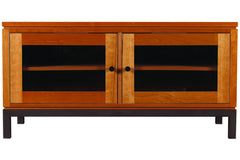 "Franklin 48"" Media Console with Two Glass Cabinets in Cherry with Black Pulls and Custom Espresso Base"