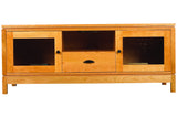 "Franklin 60"" Media Console with One Drawer & Two Glass Doors in Cherry with Black Eyebrow and Tapered Knob Pulls"