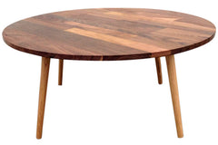 Round walnut coffee table with mixed walnut top