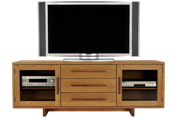 Skyline Media Console in Cherry with Walnut Pulls