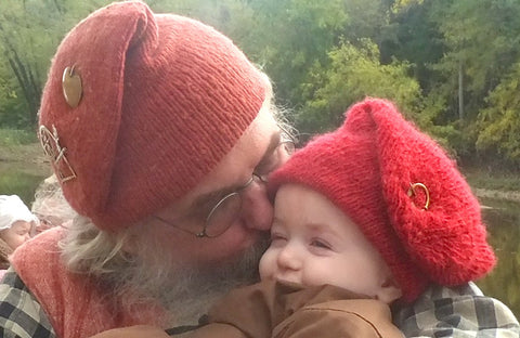 Double Toque for the 18th Century knit from Hand Spun and dyed yarn. For Men and boys.