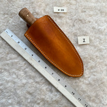 "Load image into Gallery viewer, Jeff White Knife #39, Small Dagger with Curly Maple Handle inside Leather Sheath ""I"""