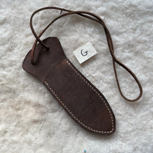 "Load image into Gallery viewer, Leather Knife Sheath ""G-Medium"" color Chocolate"