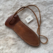 "Load image into Gallery viewer, Leather Knife Sheath ""G-Medium"" color Walnut"