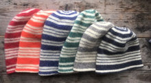 Load image into Gallery viewer, Stri[ed Felted Toques. Red, Kings orange, Navy, Green Gray, Black