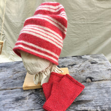 Load image into Gallery viewer, Felted Toque in red Stripes with matching Red Muffattees
