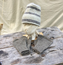 Load image into Gallery viewer, Felted Toque in Gray Stripes with gray Mittens and Muffattees