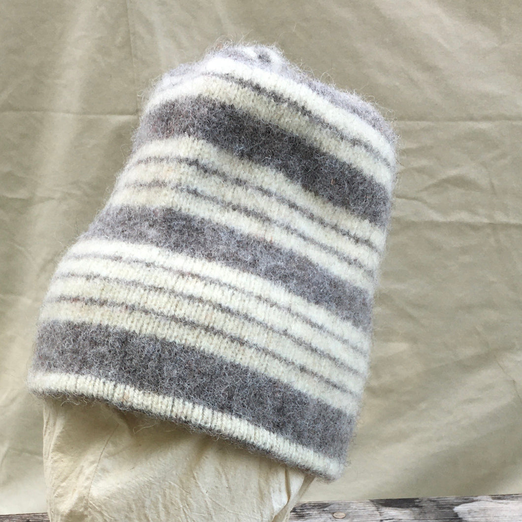 Gray Striped Felted Toque