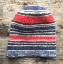 Load image into Gallery viewer, Felted Multi Striped Toque, REd, White, Blue and Gray