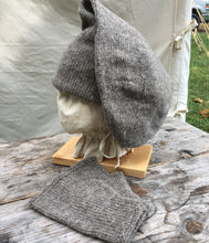 Load image into Gallery viewer, Double Toque with long fold over style with matching Muffattees in Sheep Gray Medium