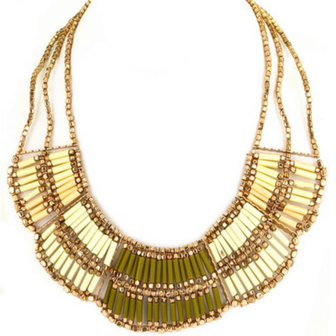 Neutral Bib Necklace - A Jewelry Wonderland  - 1