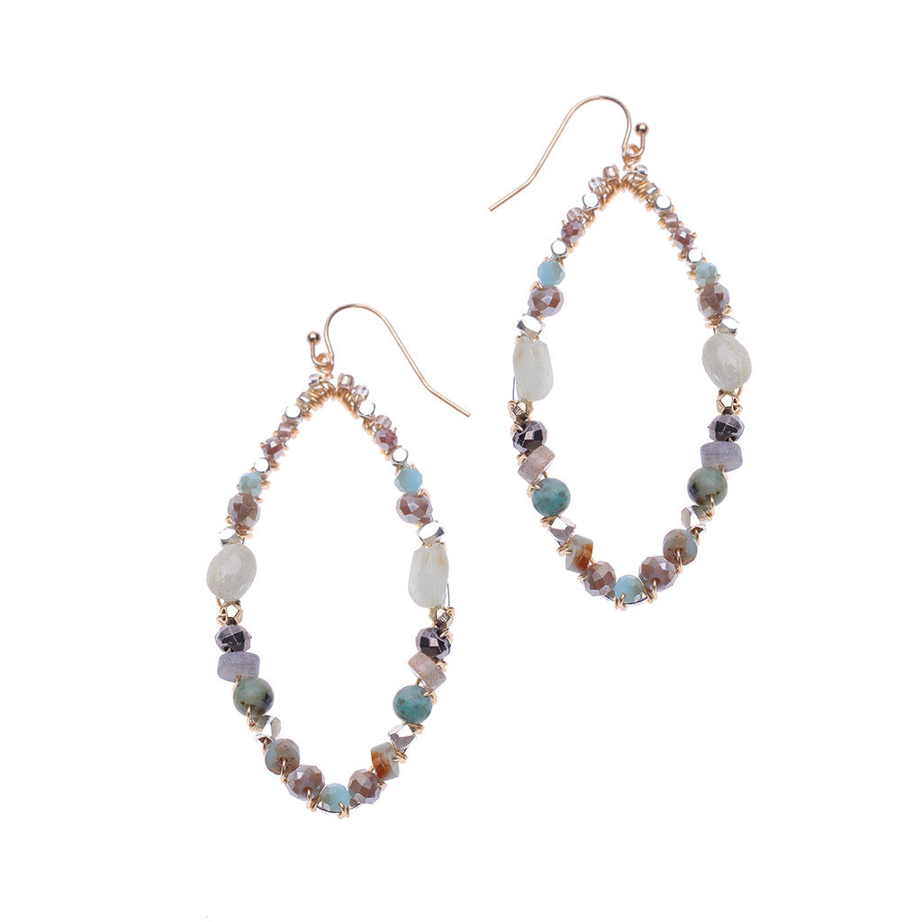 Amazonite Mix Oval Hoop Earrings