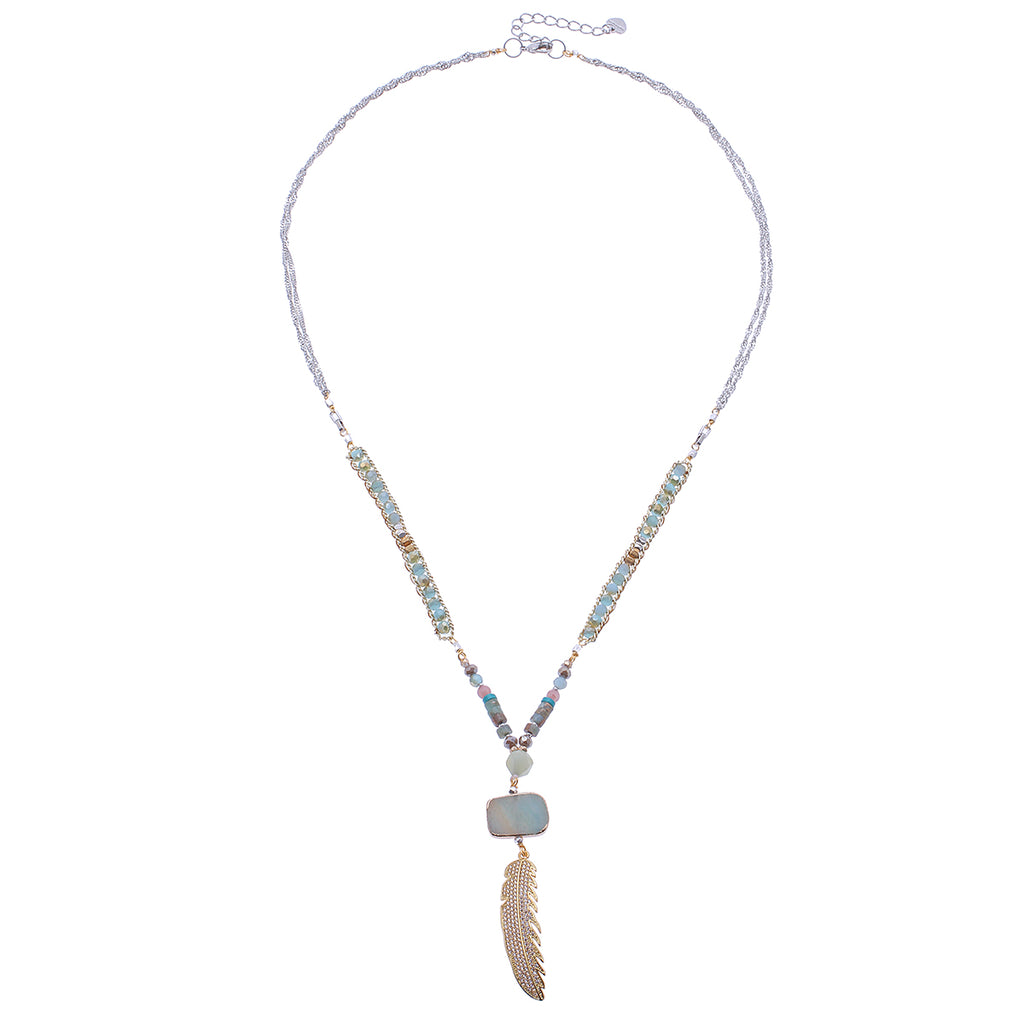 Amazonite Mix Long Feather Pendant Necklace