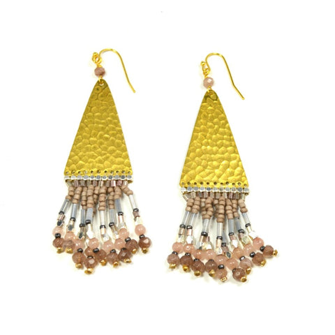 Beaded Triangle Drop Earrings