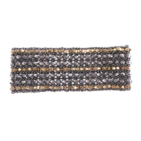 Gold & Gunmetal Beaded Statement Bracelet