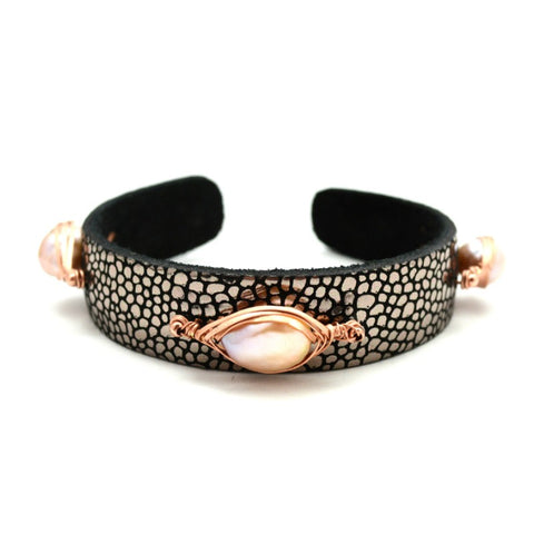 Metallic Cuff with Pearls - Pink Pearl on Gunmetal - A Jewelry Wonderland  - 1