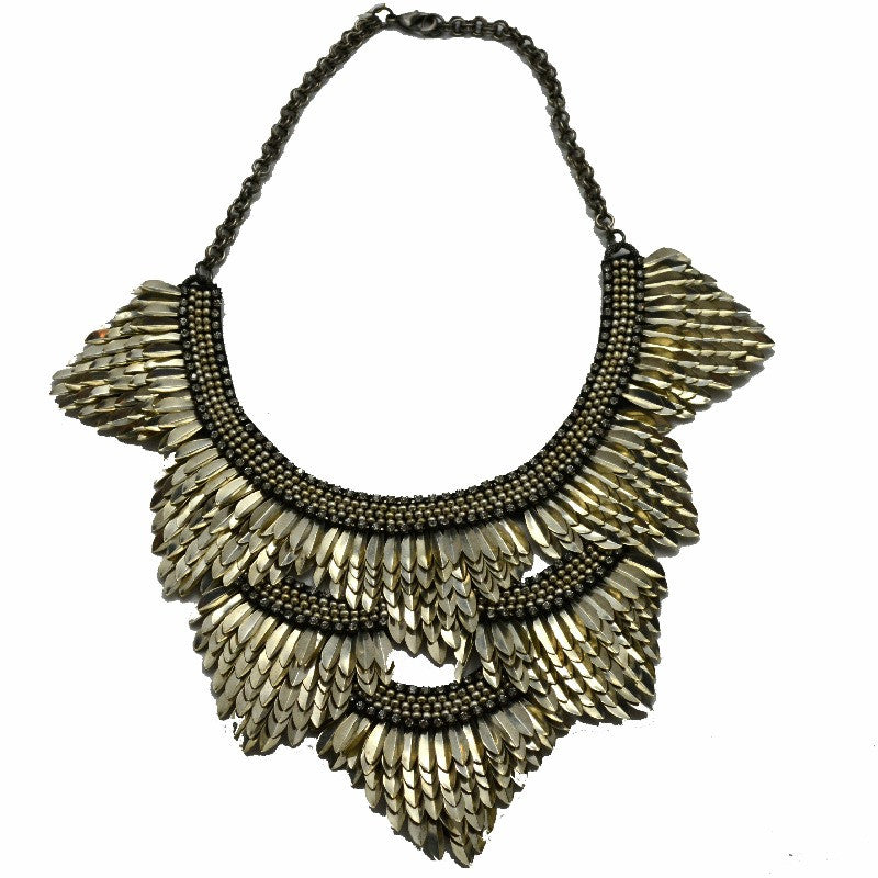 Feather Bib Necklace - Silver - A Jewelry Wonderland