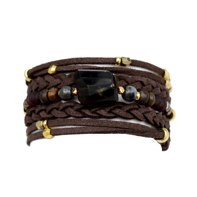 Wrap Bracelet - Braided Brown Leather - A Jewelry Wonderland  - 1