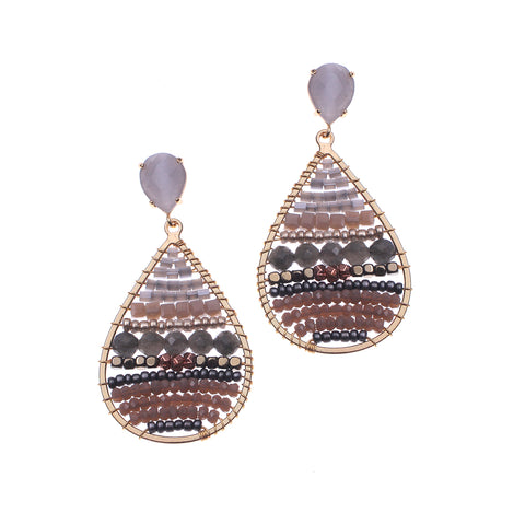 Grey Mix beaded Earrings
