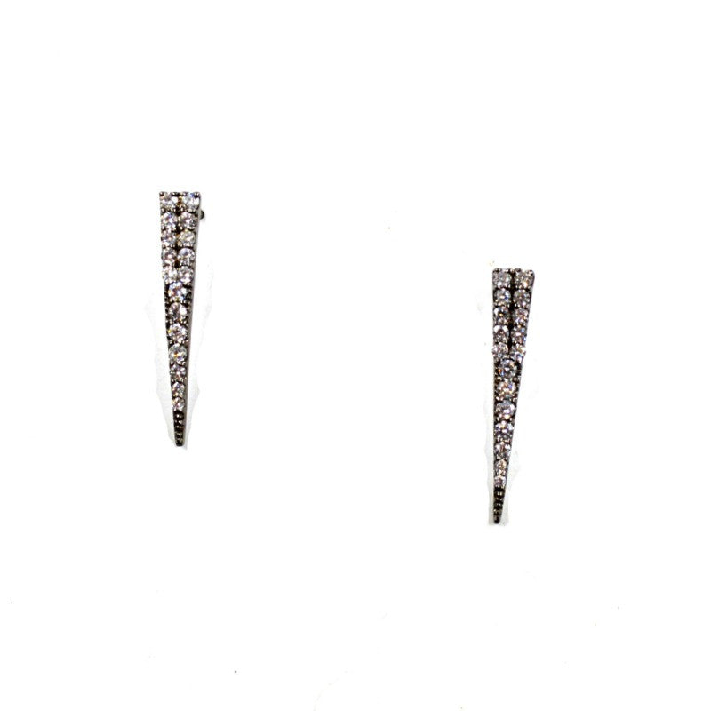 Gunmetal Pavé Stick Stud Earrings - A Jewelry Wonderland