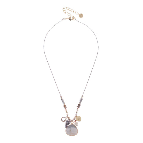 Howlite & Charm Pendant Necklace