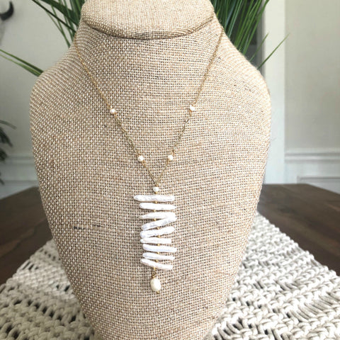 Pearl Ladder Pendant Necklace