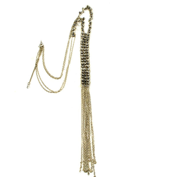 Beaded Y Chain Tassel Necklace - A Jewelry Wonderland  - 1