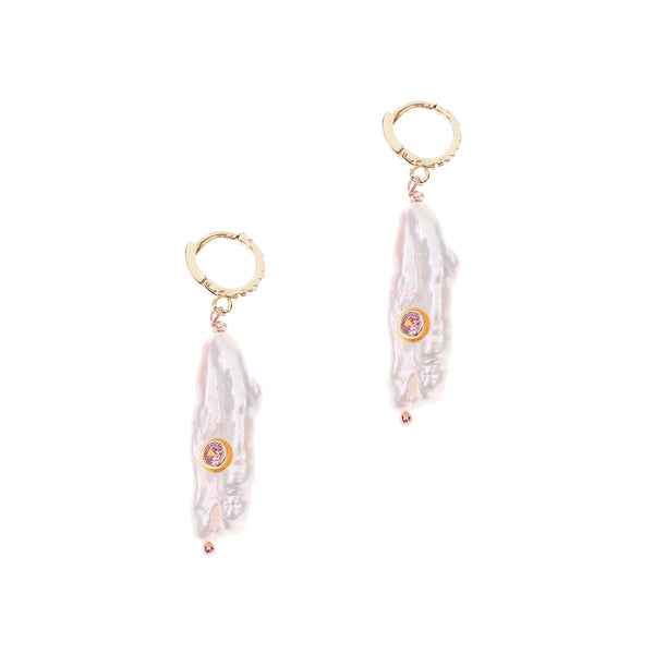 White Pearl Barrel Earrings with Pink Crystal