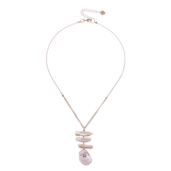 White Pearl Mix Pendant Necklace